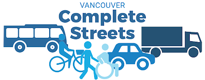 Complete Streets logo, showing different types of vehicles, pedestrians, bicyclists, and wheelchair users.