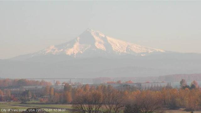 Mount Hood with historic Pearson Field in the foreground