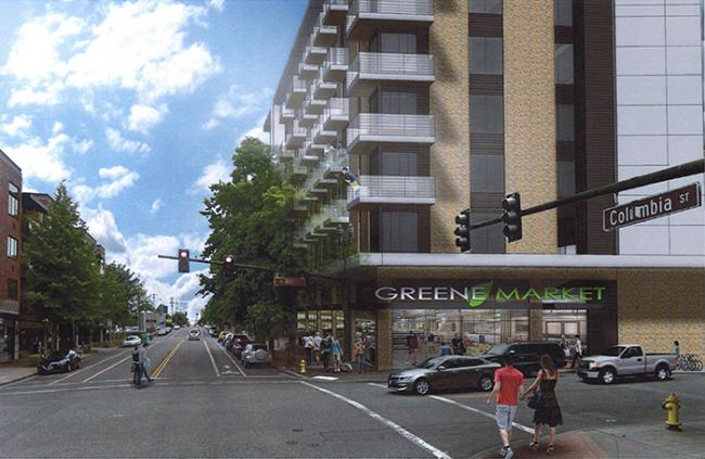 Artist's rendering of proposed Block 10 development looking north up Columbia Street from West 8th Street