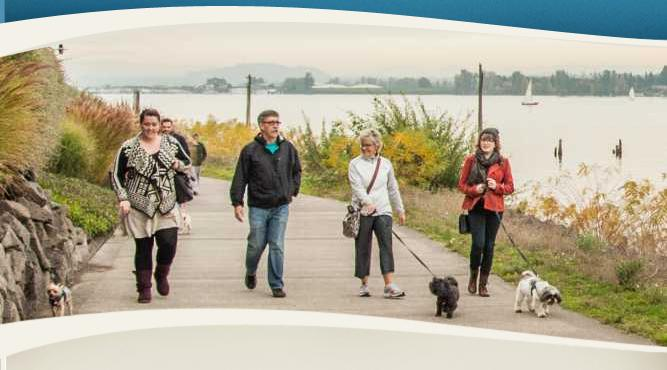 Dog walkers on Vancouver's Waterfront Trail
