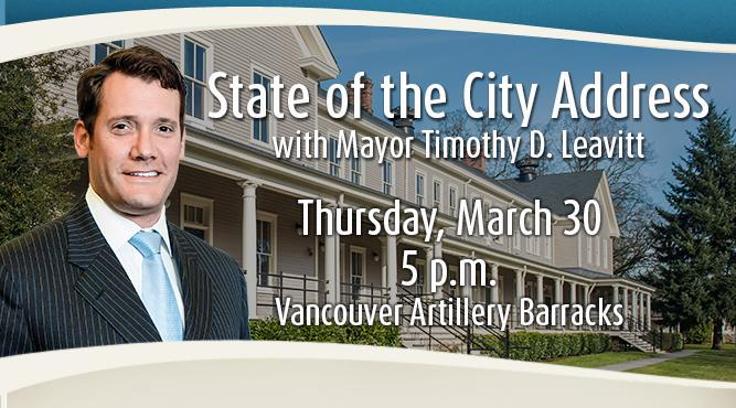 Attend the State of the City Address with Mayor Timothy D. Leavitt at 5 p.m. Thursday, March 30 at the Artillery Barracks,