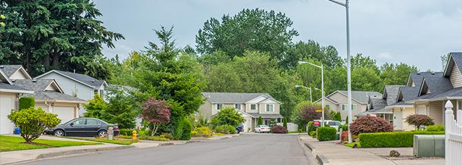 A neighborhood street in the Green Meadows area