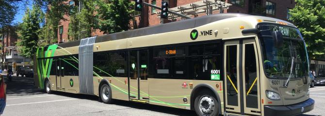 C-TRAN articulated bus for the VINE