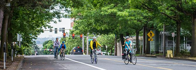 Bikers in downtown Vancouver