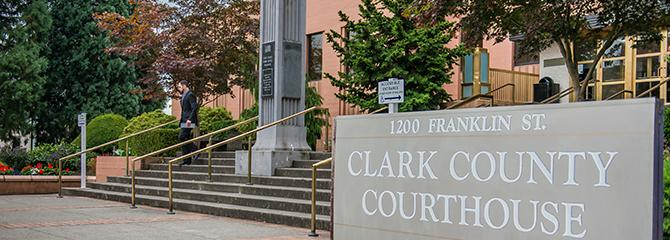 Photo of the main entrance of the Clark County Courthouse