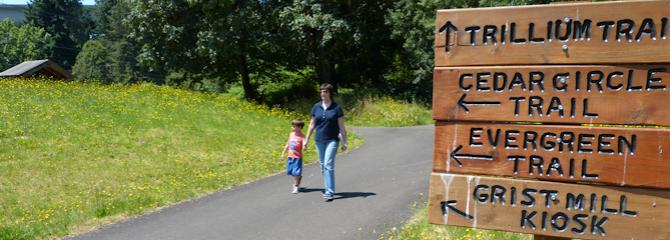Evergreen Trail with Sign