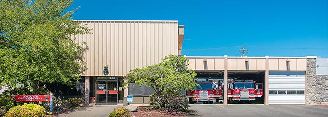 Front of Vancouver Fire Station 1 on West Evergreen Boulevard
