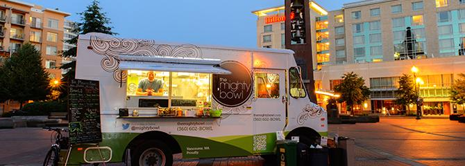 The Mighty Bowl food truck at Esther Short Park