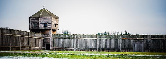 Tower at Fort Vancouver in the snow