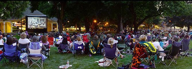 Crowd at the Friday Night Movie in the Park