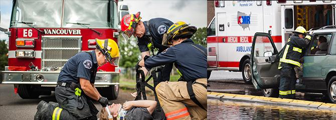 Photos of Vancouver firefighters responding to emergency medical calls