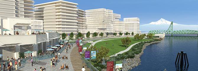 Artist rendering of the Waterfront development and park looking eastArtist rendering of the Waterfront development and park looking east