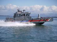Vancouver's quick response boat at speed - side view