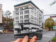 Historical and modern photo of the Heritage building at Main and 6th streets in downtown Vancouver. Historical photo courtesy of the Clark County Historical Museum.