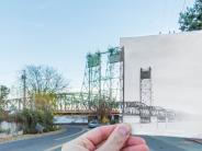 Historical and modern photos of the I-5 bridge over the Columbia River. The historical photo is of the bridge when it only had one span. The second span was added in the 1960s. Historical photo courtesy of the Clark County Historical Museum.