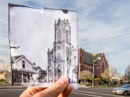 Historical and modern photo overlay of the St. James Catholic Church on W. 12th and Washington streets. Historical photo courtesy of the Clark County Historical Museum.
