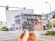 Historical and modern photo of the Elks/Biggs Insurance building on Main Street at Evergreen Boulevard. Historical photo courtesy of the Clark County Historical Museum.