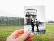 Historical and modern photo of the Fort Vancouver bastion after its reconstruction. Historical photo courtesy of the Clark County Historical Museum.