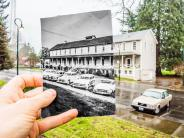 Historical and modern photo of the infantry barracks building at Fort Vancouver. Historical photo courtesy of the Clark County Historical Museum.