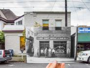 Historical and modern photo of a business on Evergreen at Franklin in downtown Vancouver. Historical photo courtesy of the Clark County Historical Museum.