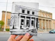 Historical and modern photo of the downtown post office. Historical photo courtesy of the Clark County Historical Museum.