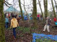 Volunteers cleaning the wetland