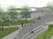 Artist rendering of the new waterfront park looking east
