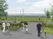Artist rendering of the western end of the new waterfront park