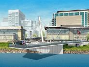 Artist rendering of the central public pier inside the park, showing the cable-stay structure