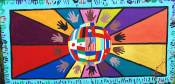 Fourth Plain International Festival mural with its vibrant colors, international flags, and hands of diverse skin tones