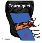 Image of applying one type of tourniquet above a bleeding injury when direct pressure fails to contol it