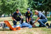 Vancouver Fire Department Paramedics work on a patient