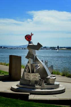 Stainless Steel Sculpture of Wendy Rose on the Columbia River Waterfront