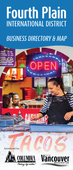 "Fourth Plain Brochure Cover, with a smiling woman cooking tacos in front of a vibrant restaurant with ""open"" sign"