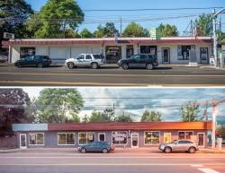 Before and after photos show a Fourth Plain building's improvement: new awning, signs, window frames, and newly painted facade