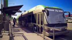 A rendering of the Vine bus pulled up alongside an elevated bus stop platform on Fourth Plain Boulevard