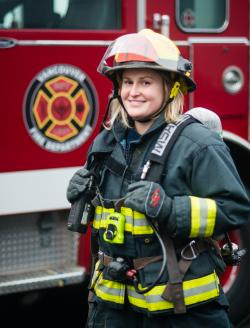 Photo of a female firefighter