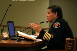 Chief Molina speaking to the City Counsil