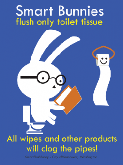 Be a Smart Bunny - Flush only toilet paper, not other products