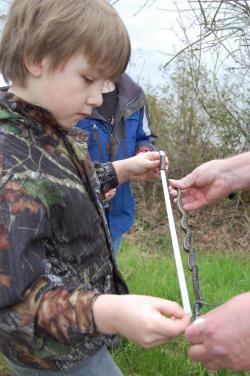 Boy measuring snake during Critter Count
