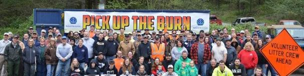 Group photo of volunteers from the 2015 Pick Up the Burn event