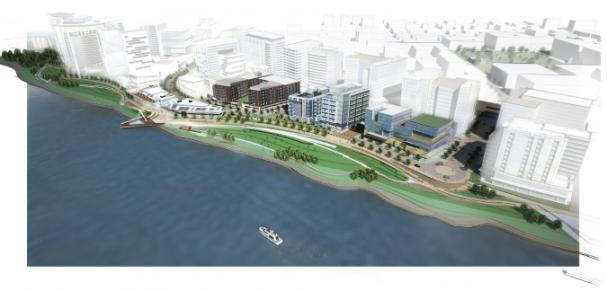 Artists rendering of the Columbia Waterfront project.