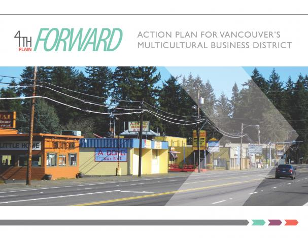 """Cover Page of the """"Fourth Plain Forward Action Plan for Vancouver's Multicultural District"""""""