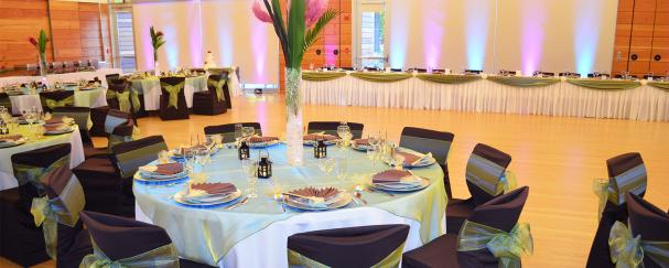 Community Room at Firstenburg Community Center decorated for a wedding