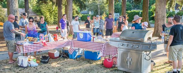 Neighborhood BBQ in downtown Vancouver's Carter Park