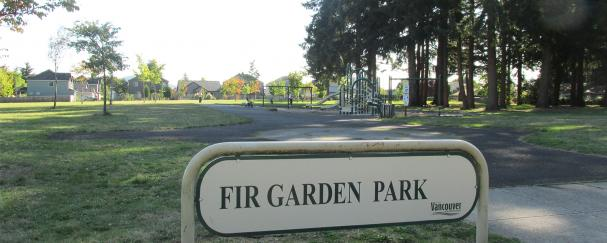 Sign marking Fir Garden Park in northeast Vancouver, Washington