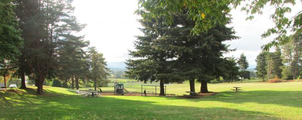 View of the playground and open field at Franklin Park in Vancouver, Washington