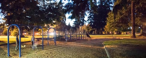 Swing set at Fruit Valley Park in Vancouver, Washington