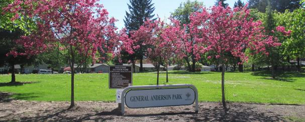 Park sign and flowering trees at General Anderson Park in Vancouver, Washington