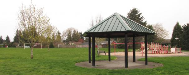 Gazebo and playground at Marrion School Park in Vancouver, Washington